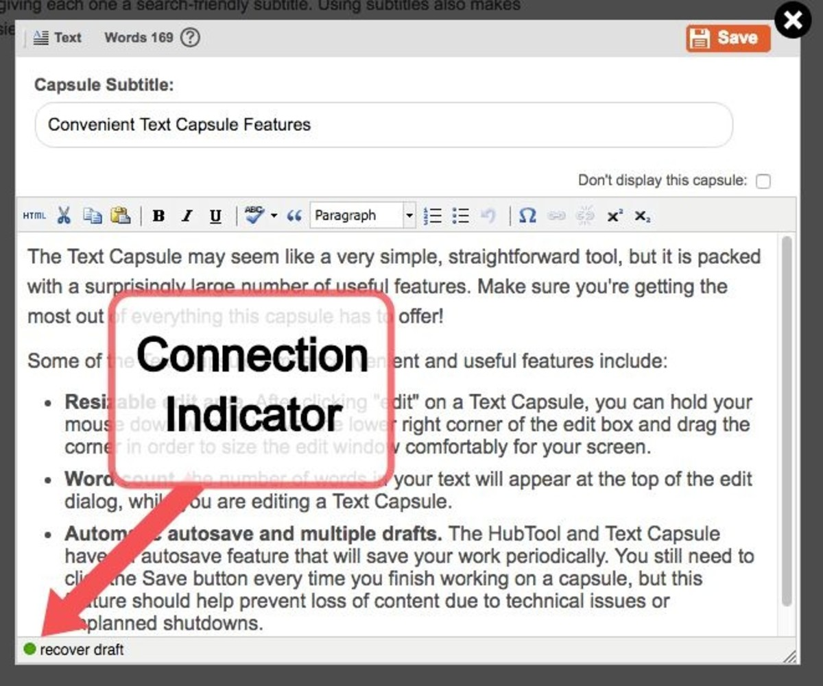 When you are editing a Text Capsule, the green dot on the lower left indicates an active connection.