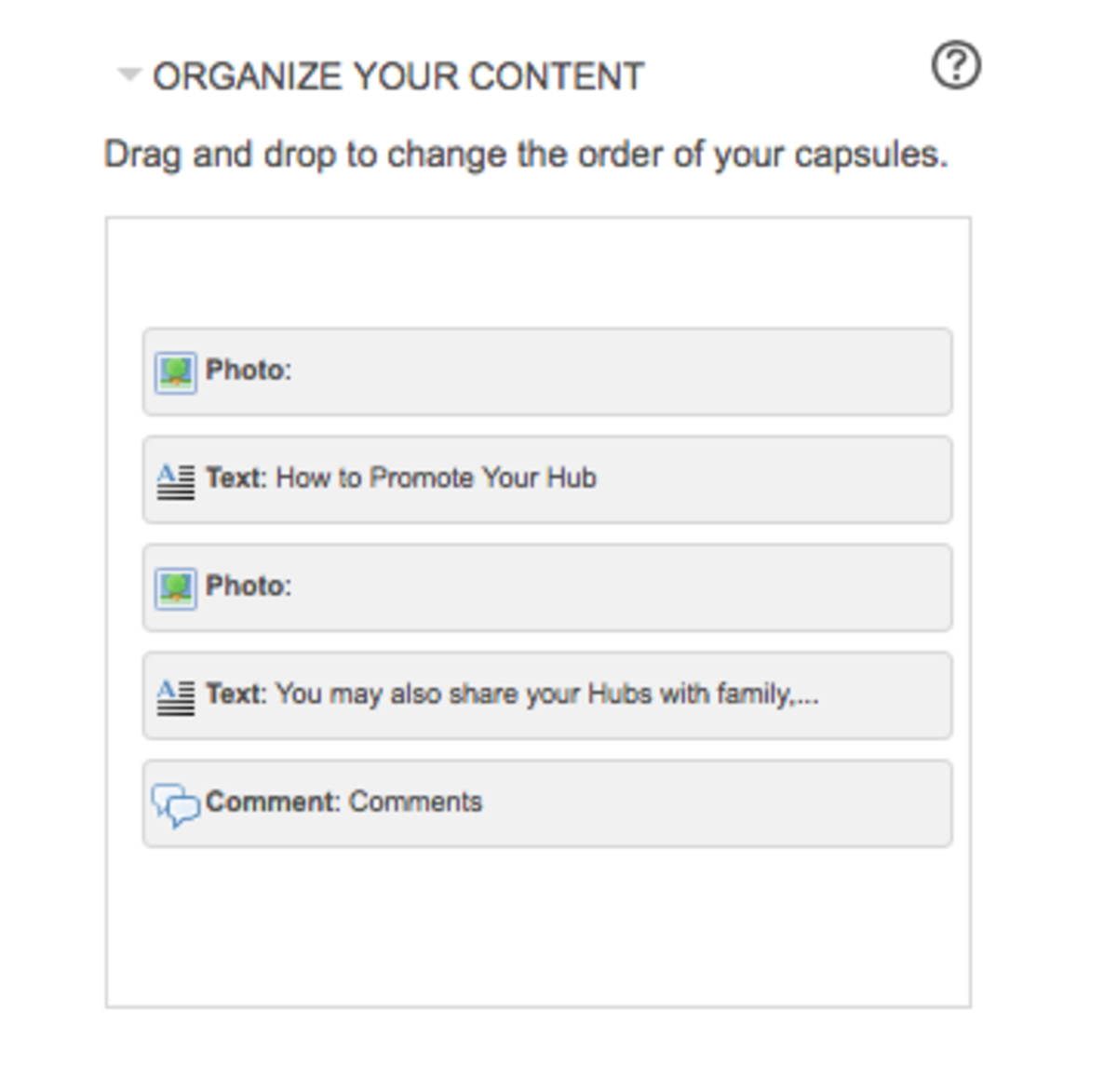 Drag and drop these modules to reorganize the capsules in your article.