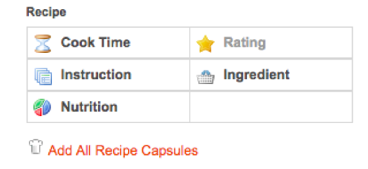 You have the option to include a variety of recipe-specific capsules in your articles.