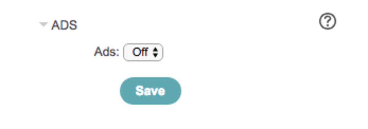Toggle the dropdown to turn ads on or off as desired.