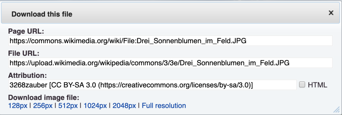 "URLs and attribution information via ""Download."""