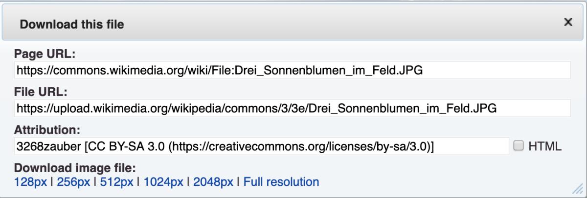 "URLs and attribution information via ""Download."""