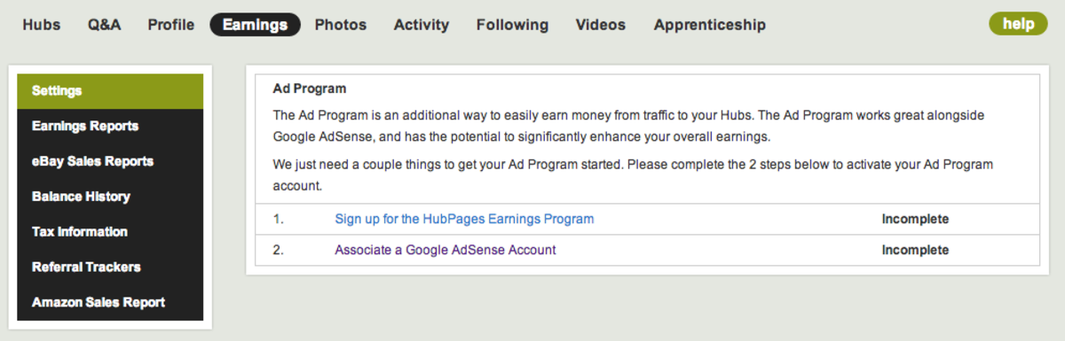 How to Sign Up for the HubPages Earnings Program