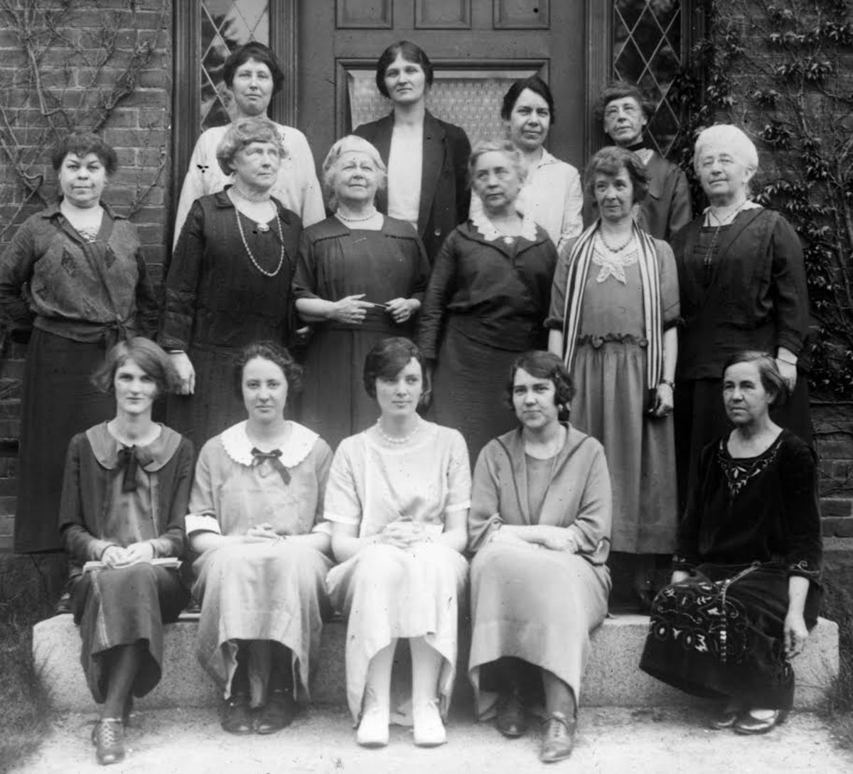 The Harvard Computers. Cecilia Payne is second from the left in the top row, Annie Jump Cannon is second from the left in the middle row.