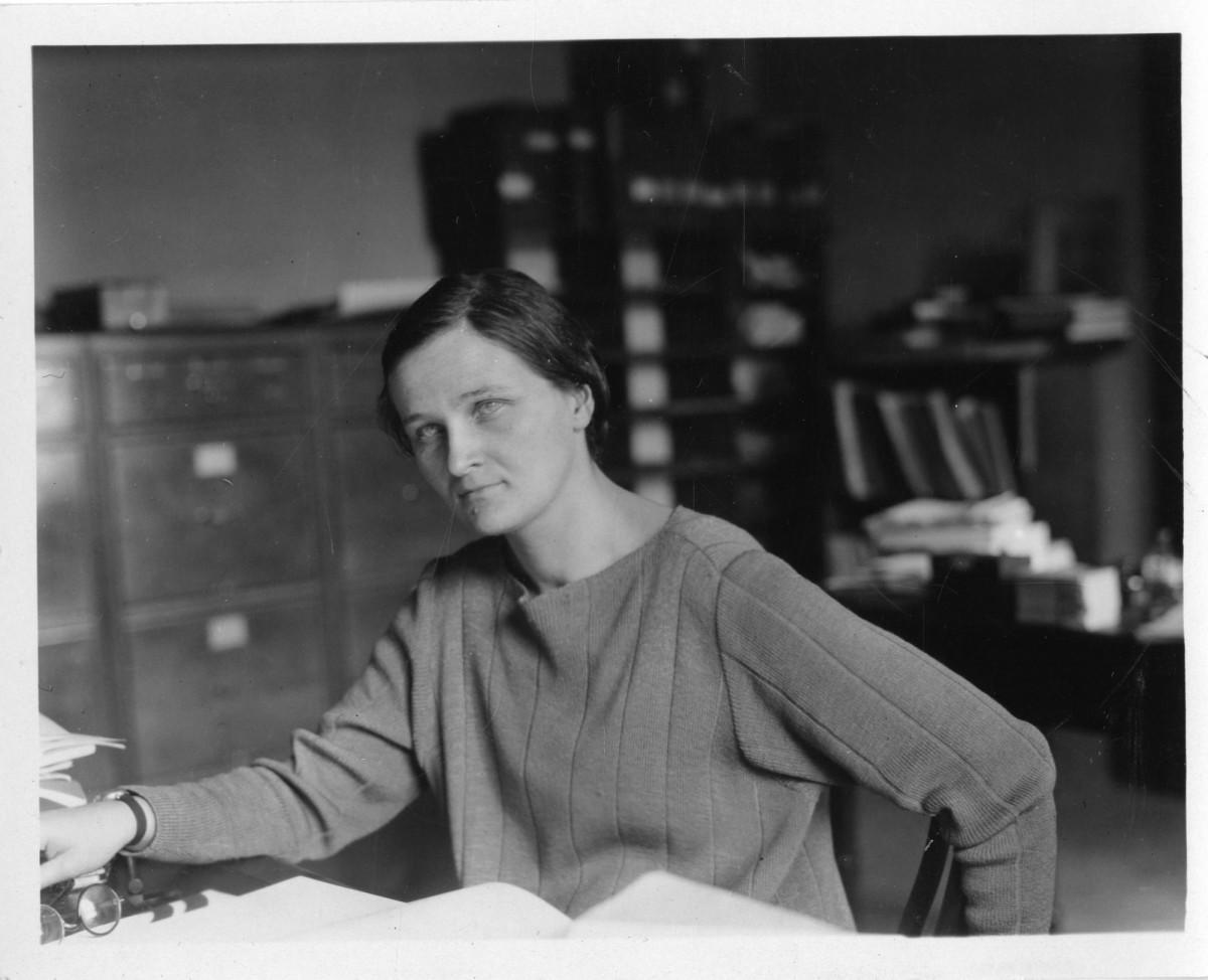 Cecilia Payne-Gaposchkin at her desk at Harvard College Observatory.