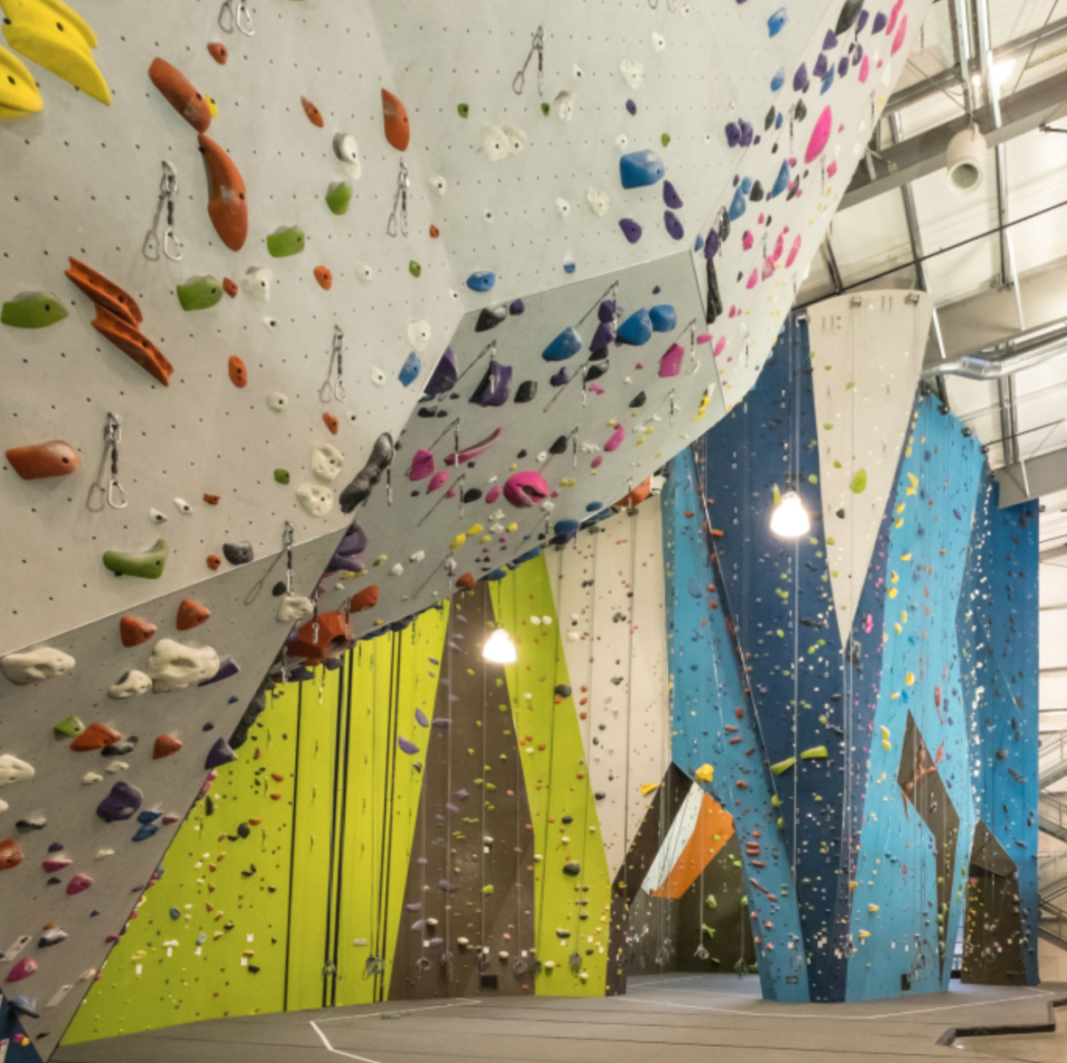 An example of what a rock climbing gym looks like. Notice all the different kinds of holds and how the walls are shaped to resemble rocks and cliffs outside.