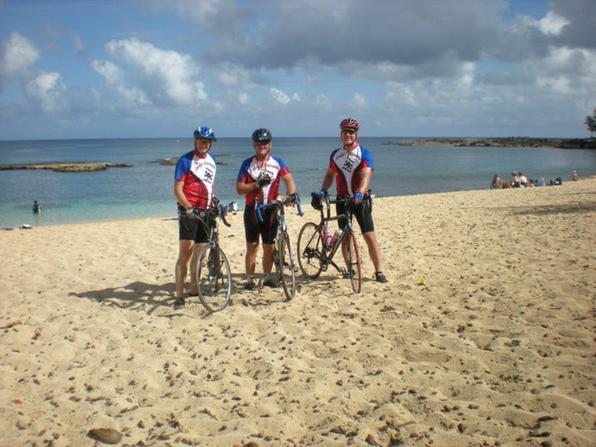 DOM, Box and REL—the three amigos—on a sandy beach, northwest Oahu during one of our many, many outings...