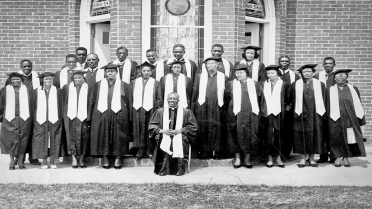 Hiram Rhodes Revels with a class at Alcorn Agricultural and Mechanical College