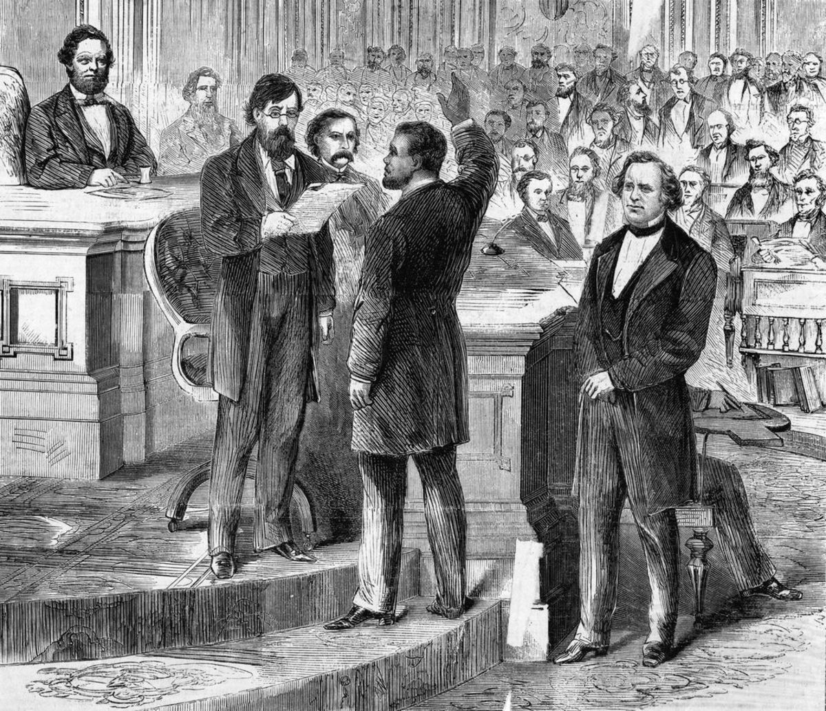 Hiram Rhodes Revels being sworn in as a U.S. Senator
