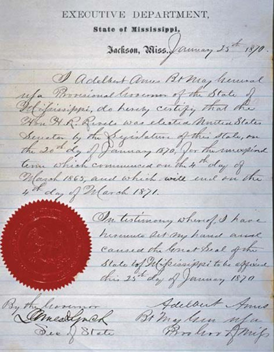 Certification of Hiram Rhodes Revels being elected as a Senator by the Mississippi House of Representatives