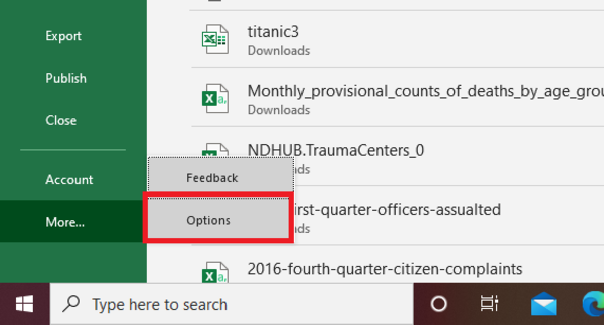 The options button allows an Excel user to see settings that can be changed to customize the Excel user interface.