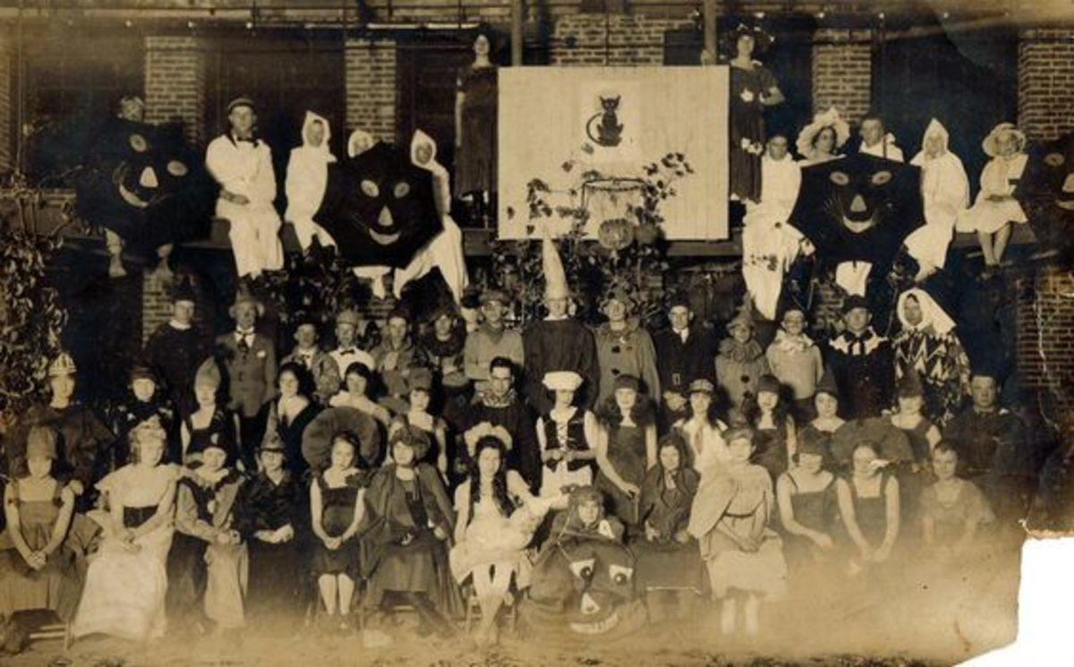 This is a photograph taken on Halloween in the 1920s.