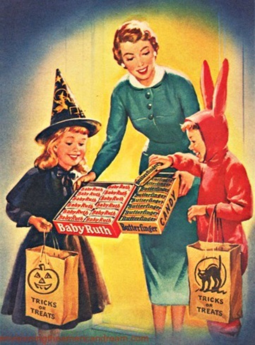 This is an artist's depiction of Halloween in the 1950s.