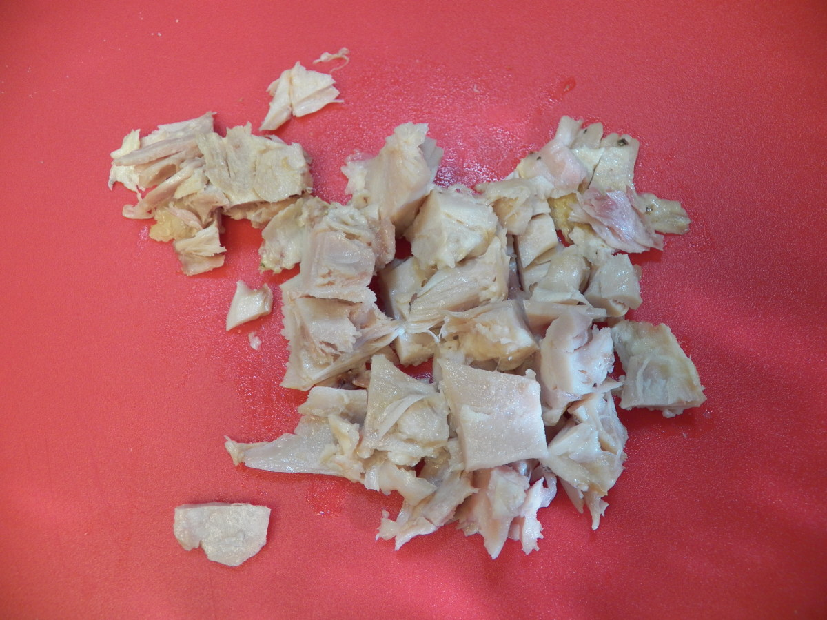 Cut up store-bought chicken.