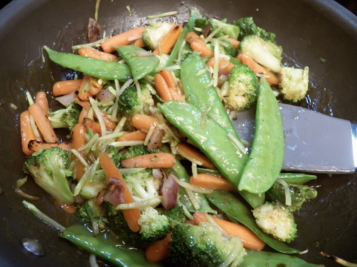 Add vegetables and chicken to sauce and heat.  Serve with rice or noodles on the side.
