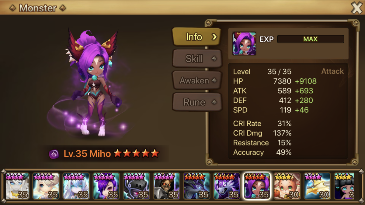 Miho is the best 2A monster for PVP
