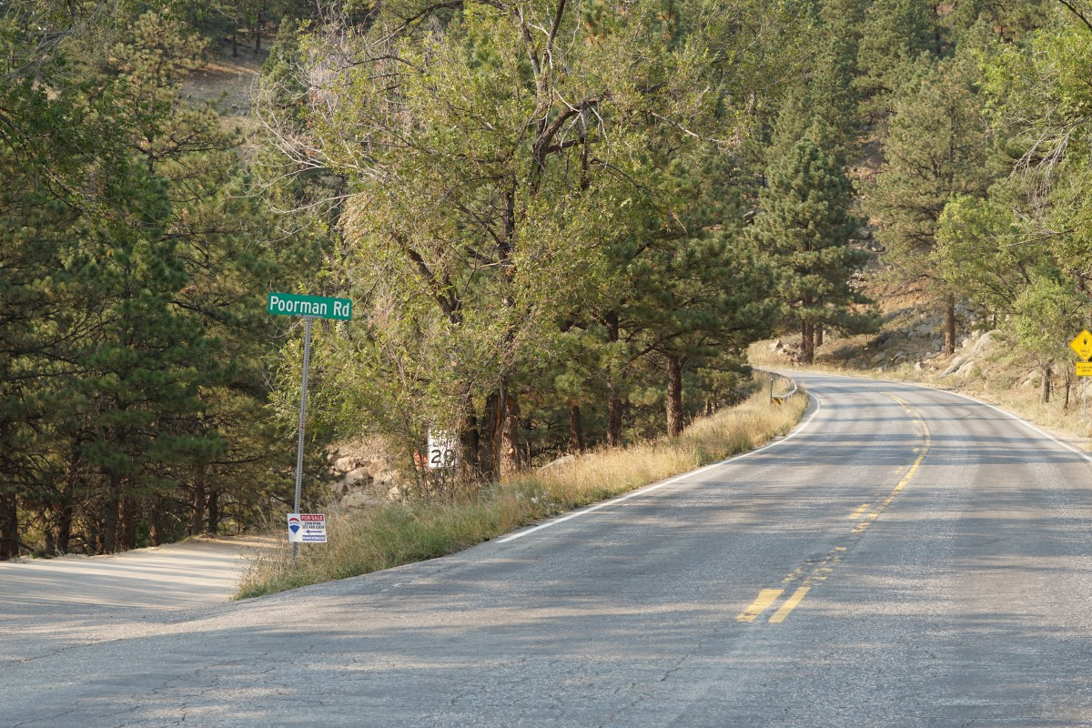 Sunshine Canyon and Poorman Road at the 2.6 mile mark.