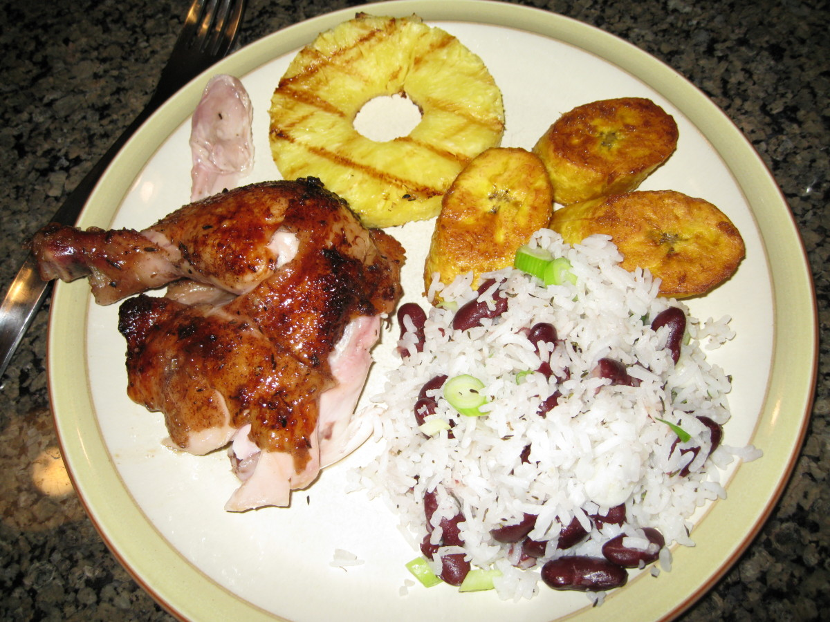 My Saturday Night Dinner: Jerk Chicken, Rice and Beans, Fried Plantains and Grilled Pineapple