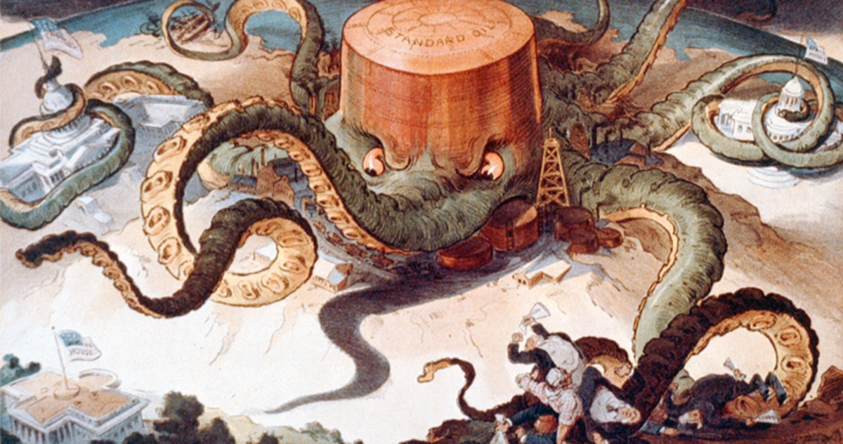 Standard Oil is depicted here as an octopus with its tentacles wrapped around government agencies.