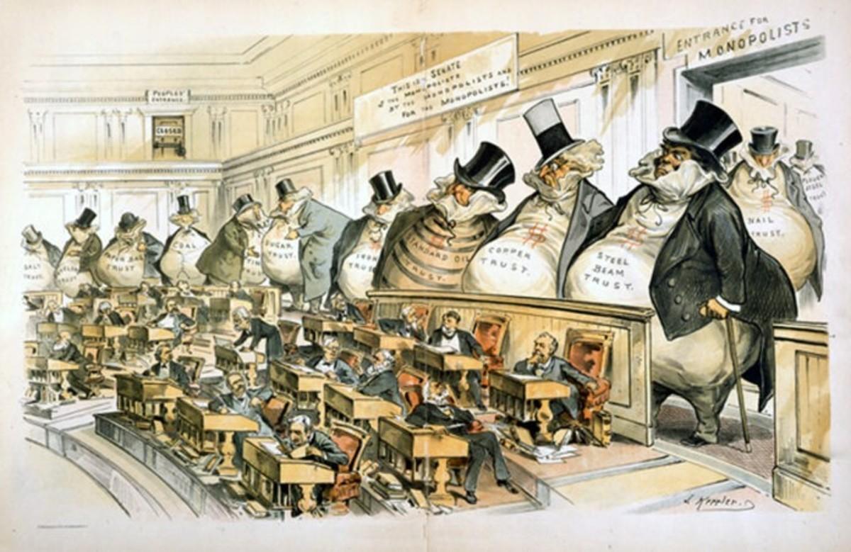 Joseph Keppler's 1889 cartoon depicts senators under the watchful eye of their industrialist bosses.