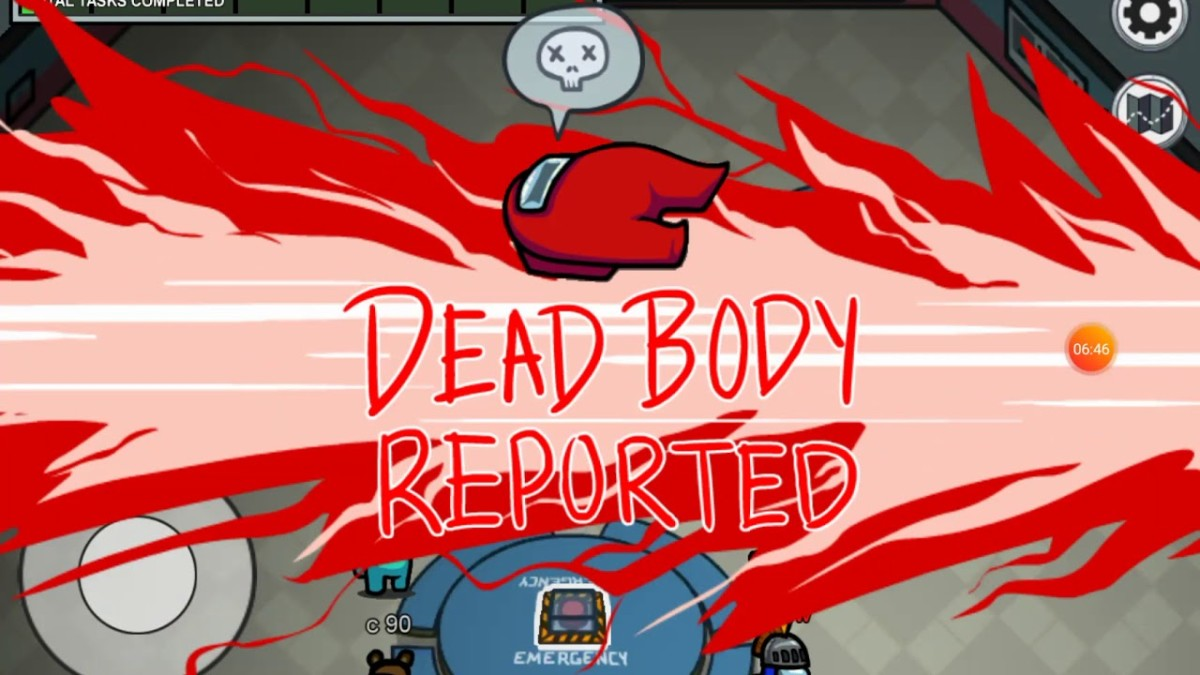 A body reported in Among Us