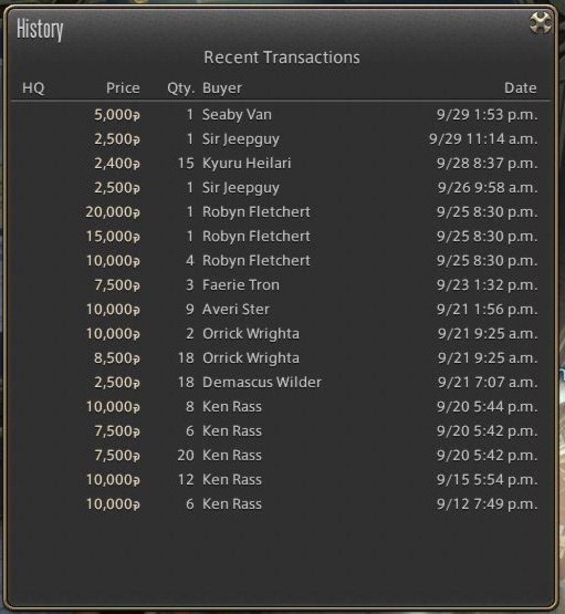 Clicking on the history will bring up the most recent transactions on the item, allowing you to see how the item typically sells.