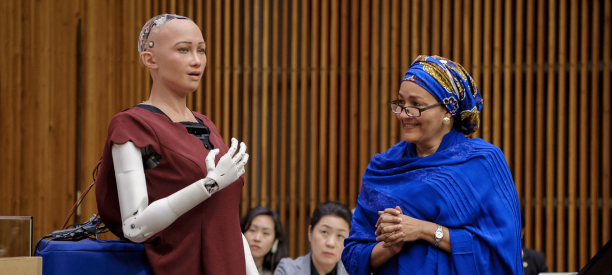 """On October 11, 2017, Deputy Secretary-General Amina Mohammed talked to Sophia at a meeting called, """"The Future of Everything -  Sustainable Development in the Age of Rapid Technological Change."""""""