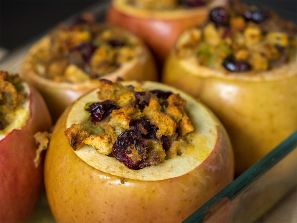 Savory stuffing-stuffed baked apples