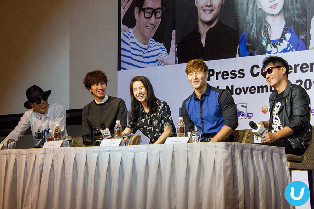 Running Man Cast. From left: HaHa, Lee Kwang-Soo, Song Ji-Hyo, Kim Jong-Kook, Ji Suk-Jin at Running Man Fan Meeting Asian Tour 2014 Season 2, Malaysia.