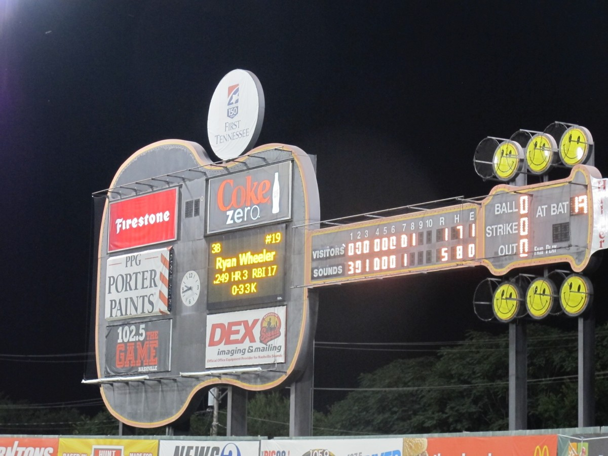 Nashville Sounds Old Scoreboard