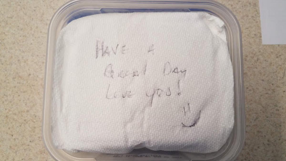 He left a love note on my sandwich!