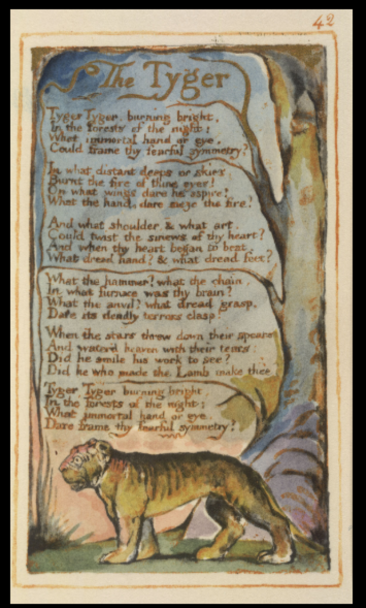 "Original poem ""The Tyger"" in ""Songs of Innocence and Experience"""