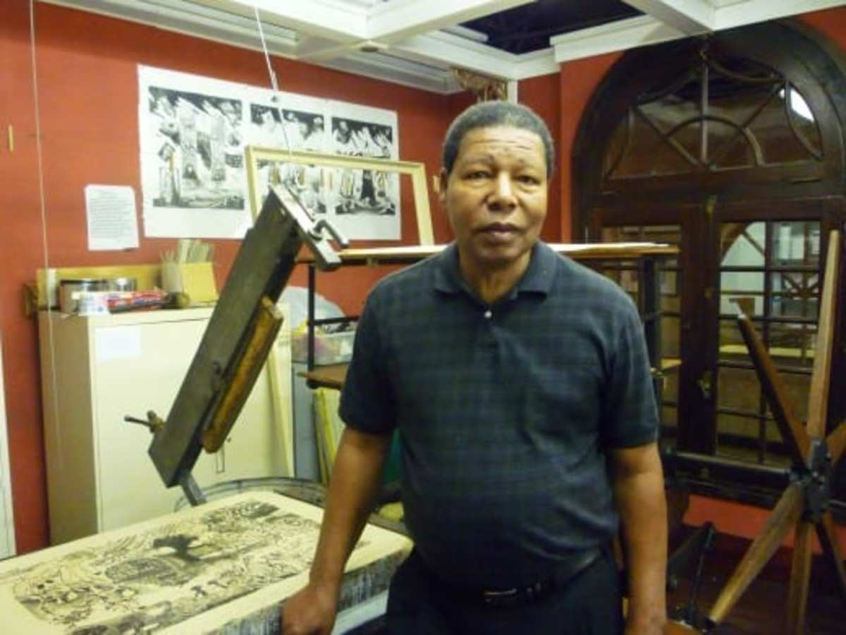 We took this photo of Charles Criner  at the Printing Museum in Texas.