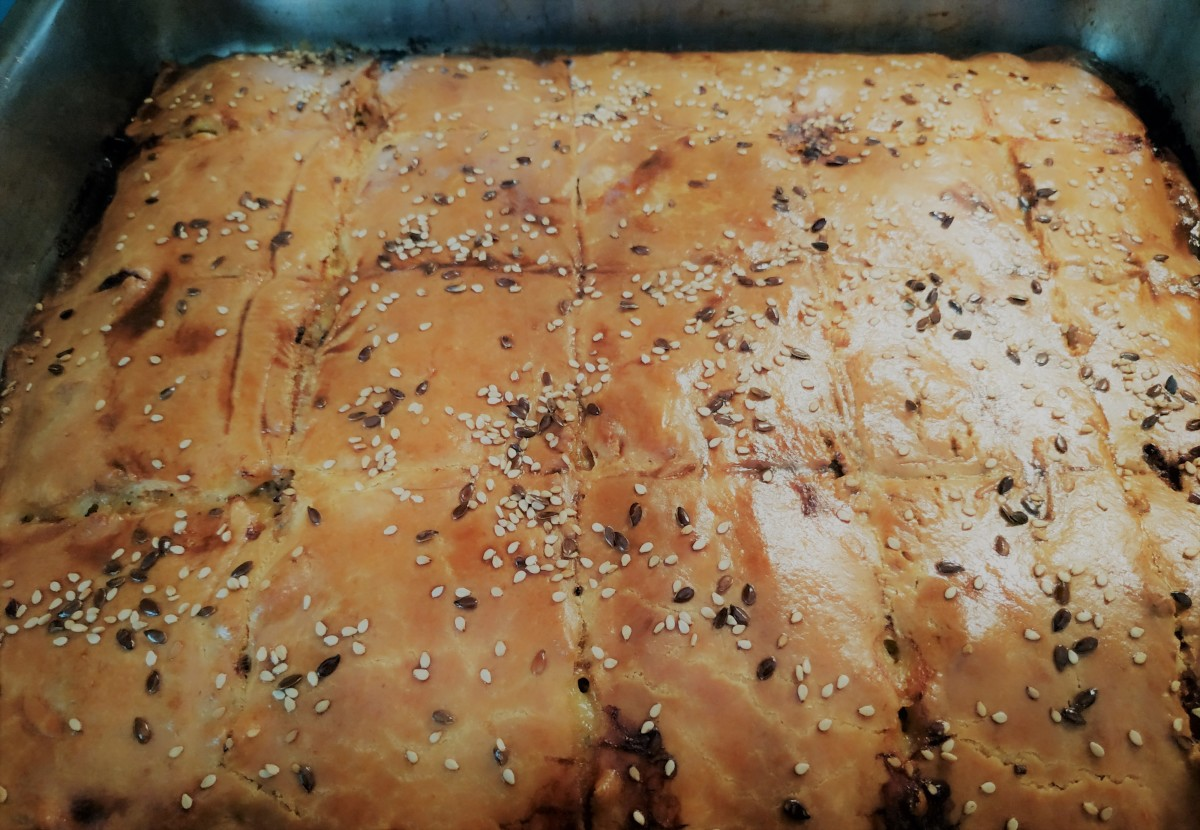 Greek minced meat pie, fresh from the oven!