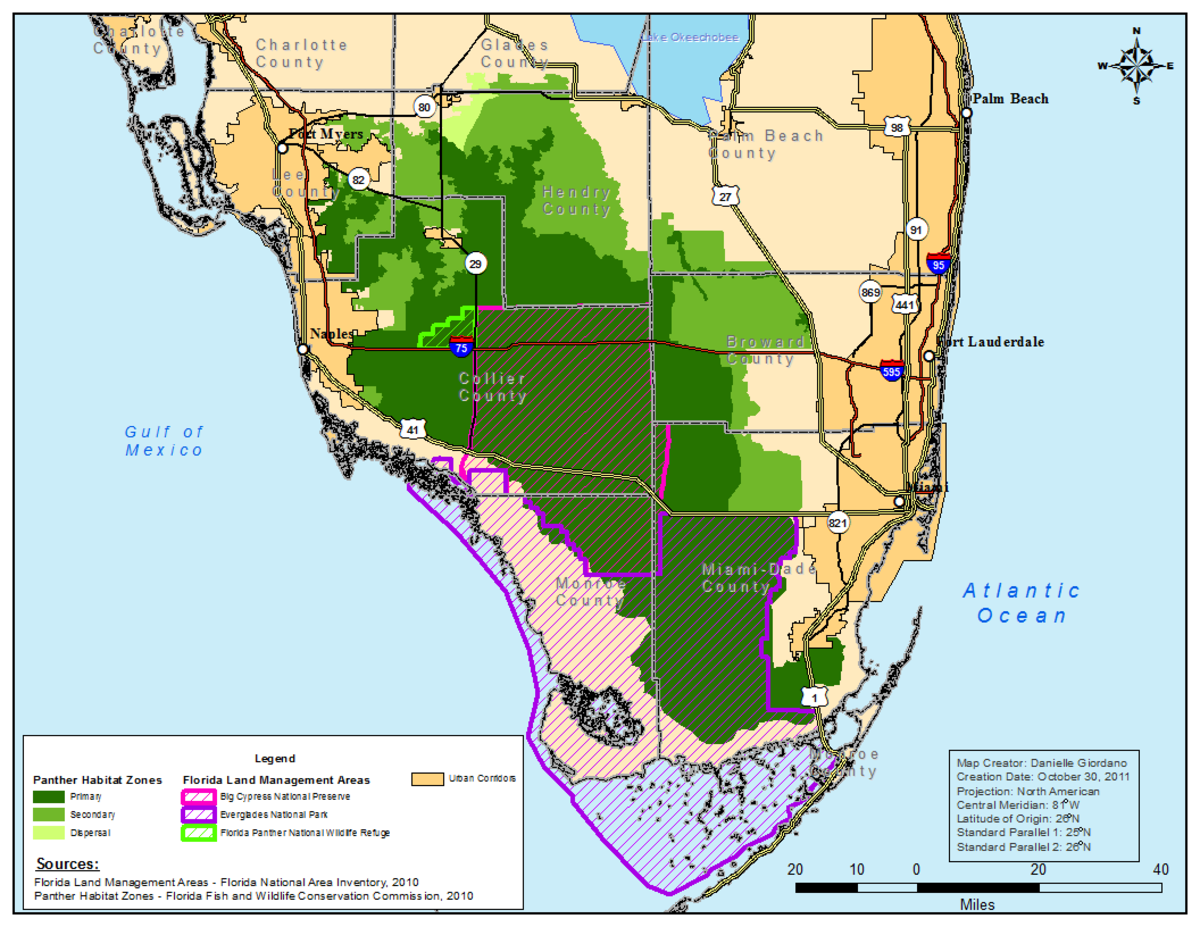 Dark Green: Primary Habitat - Light Green: Secondary Habitat - Lime Green Slashes: Florida Panther Wildlife Refuge - Dark Purple Slashes: Everglades National Park - Magenta Slashes: Big Cypress National Preserve