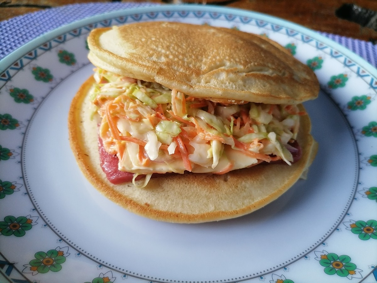 Ham and cheese pancake sandwich, ready to enjoy