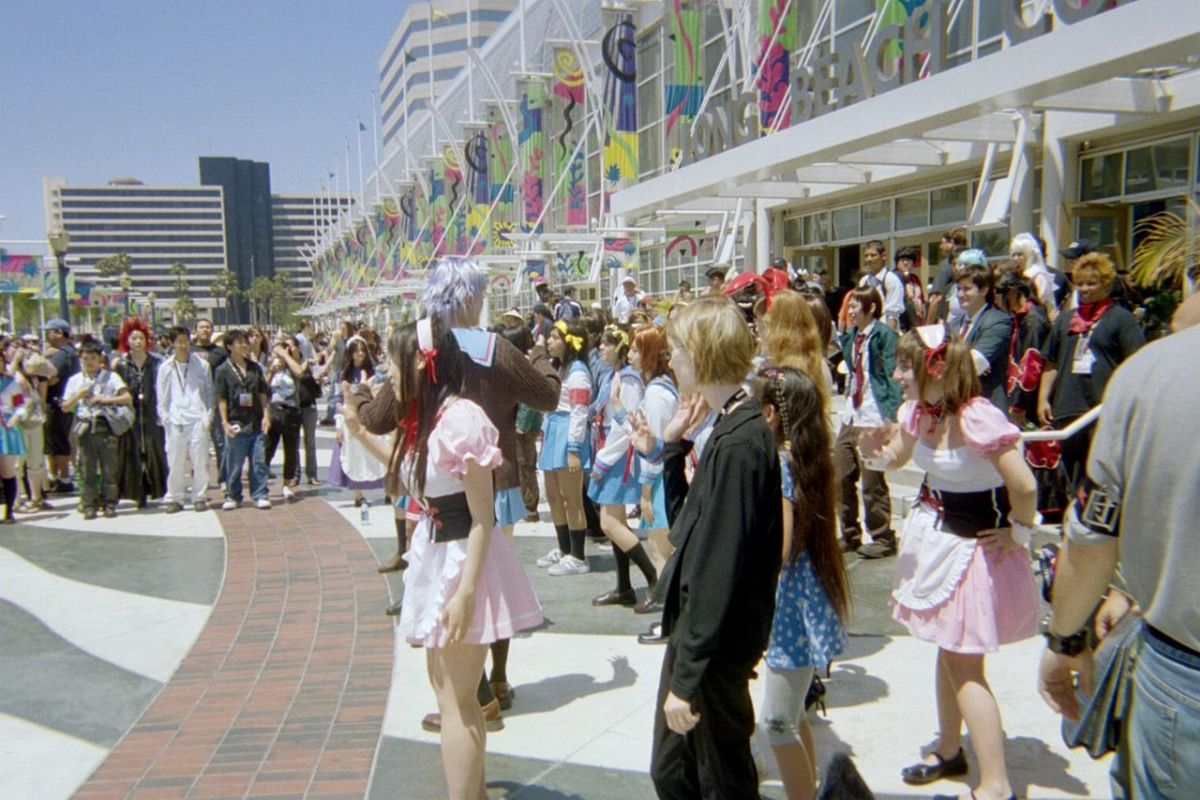 "A crowd outside Anime Expo in Los Angeles perform the ""Hare Hare Yukai"" dance together, 2007."