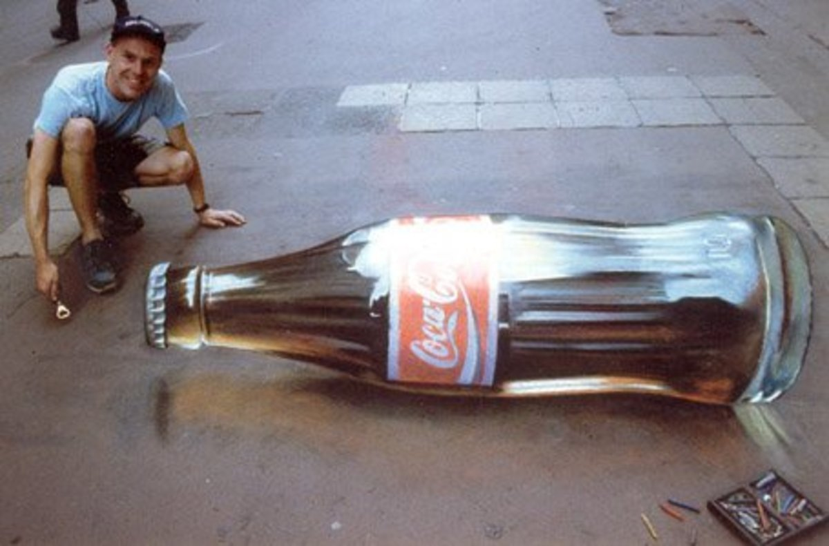 No, this is not a cut-and-paste of a real coke bottle in Photoshop. This coke bottle is drawn. In chalk. On pavement. Really incredible, I'm sure you'll agree.