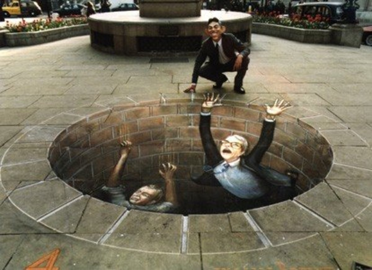 "Commissioned by Britain's Channel 4 for its Midnight Special during the 1997 general election, Beever chose to draw ""Politicians Meeting Their End"" outside the Bank of England."