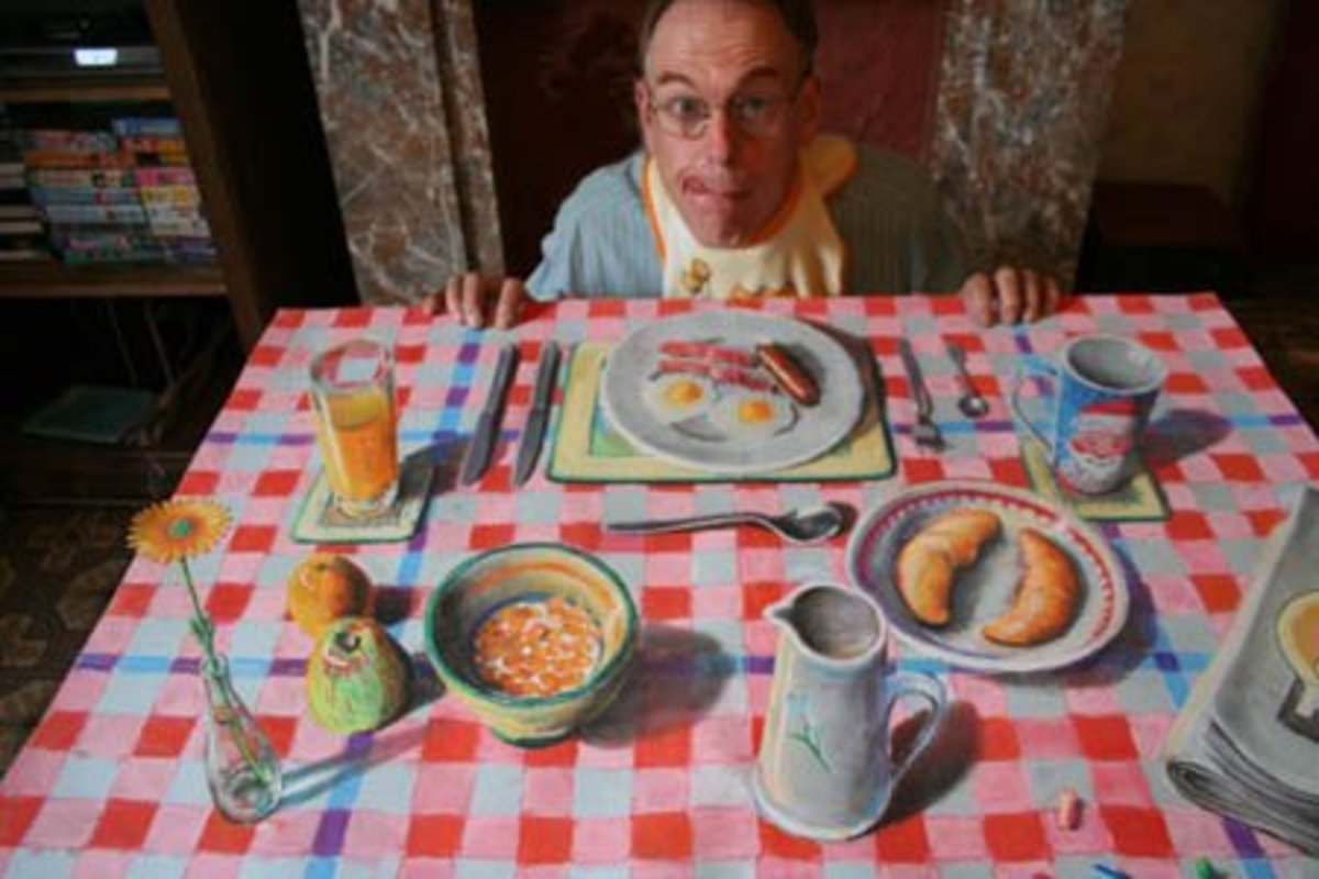 Anamorphic Breakfast. This drawing is, unusually, on paper. It was featured on NBC's Today show