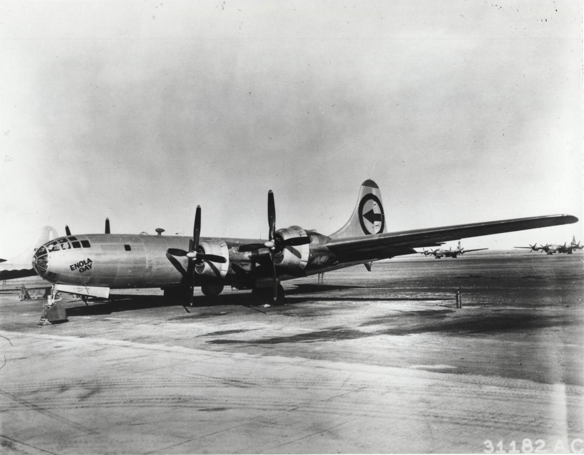 The Enola Gay, the plane that dropped the bomb