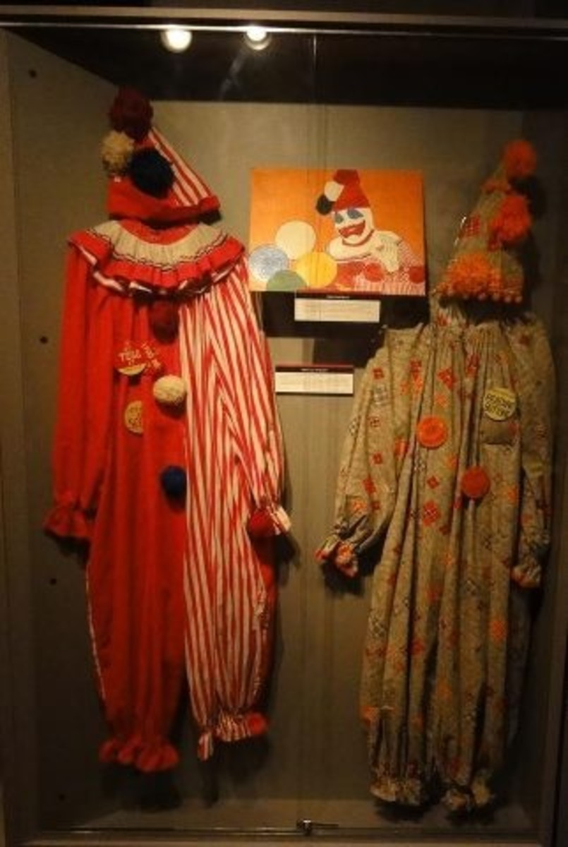 Real Clown Suits That Were Once Worn By John Wayne Gacy.