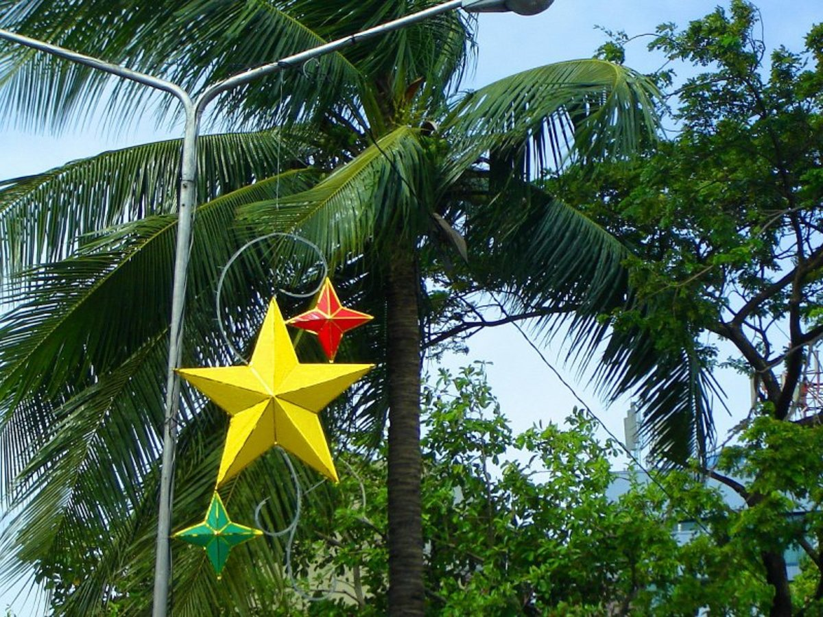 Parol of various shapes and sizes made of plastic sheet are favourite street Christmas decors around the city.