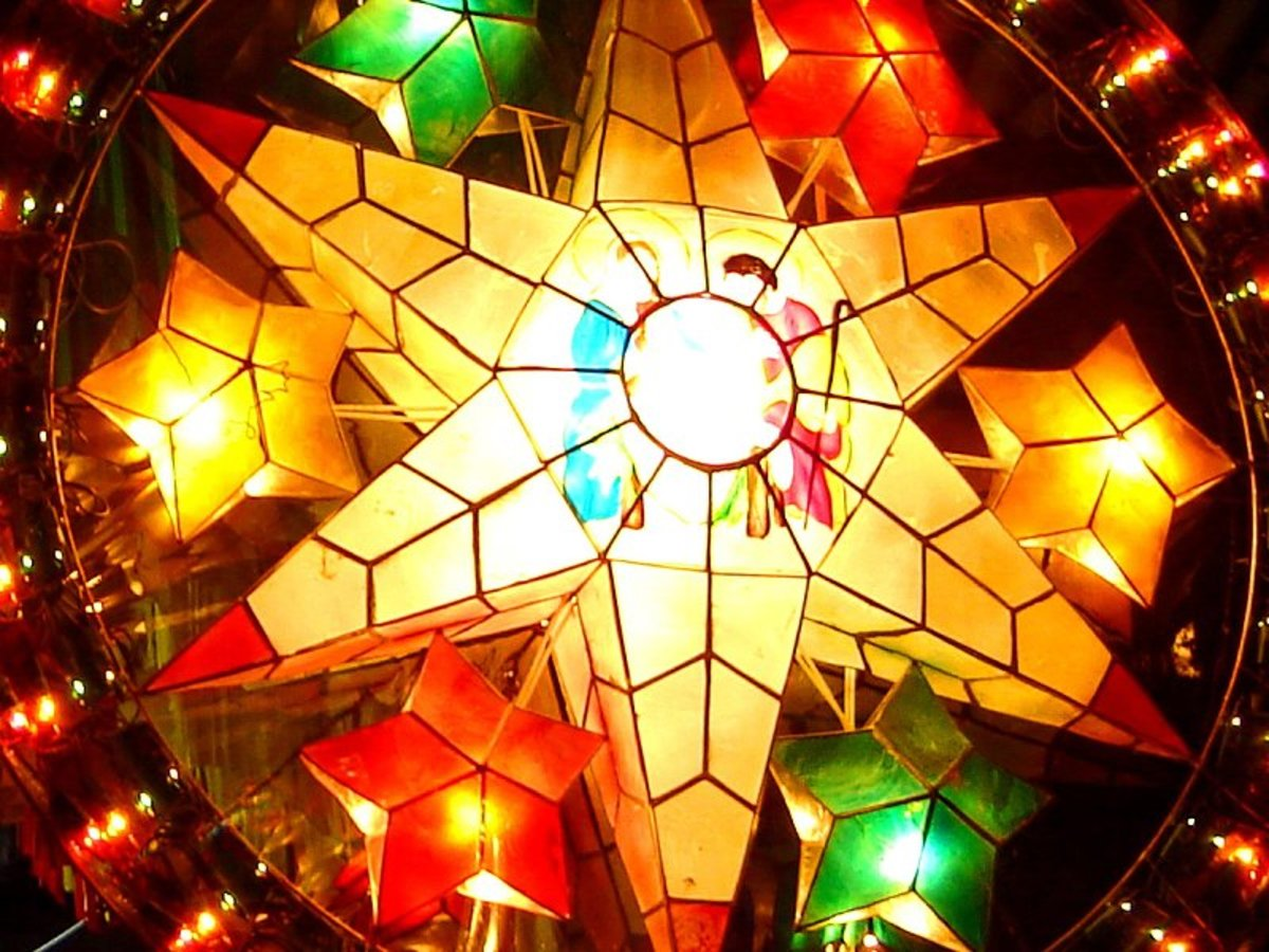 Elegant Christmas Parol made from capiz shells are very popular in the Philippines and are exported to other countries.