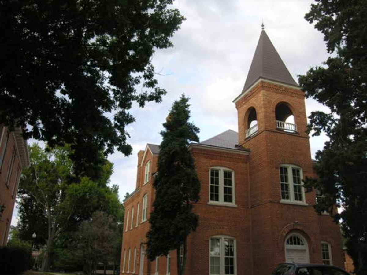 Photo Of The Newberry College. The Bell Tower is said to be haunted by a young lady from the Civil War Era who jumped to her death when she heard of her boy friend being killed in the Civil War. She is seen often up in the Bell Tower.