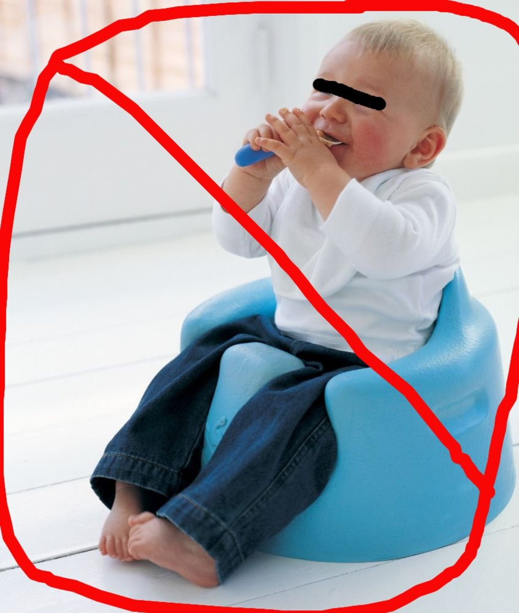 Say NO to the Bumbo baby chair! (Child's likeness is obscured to protect his or her innocence)