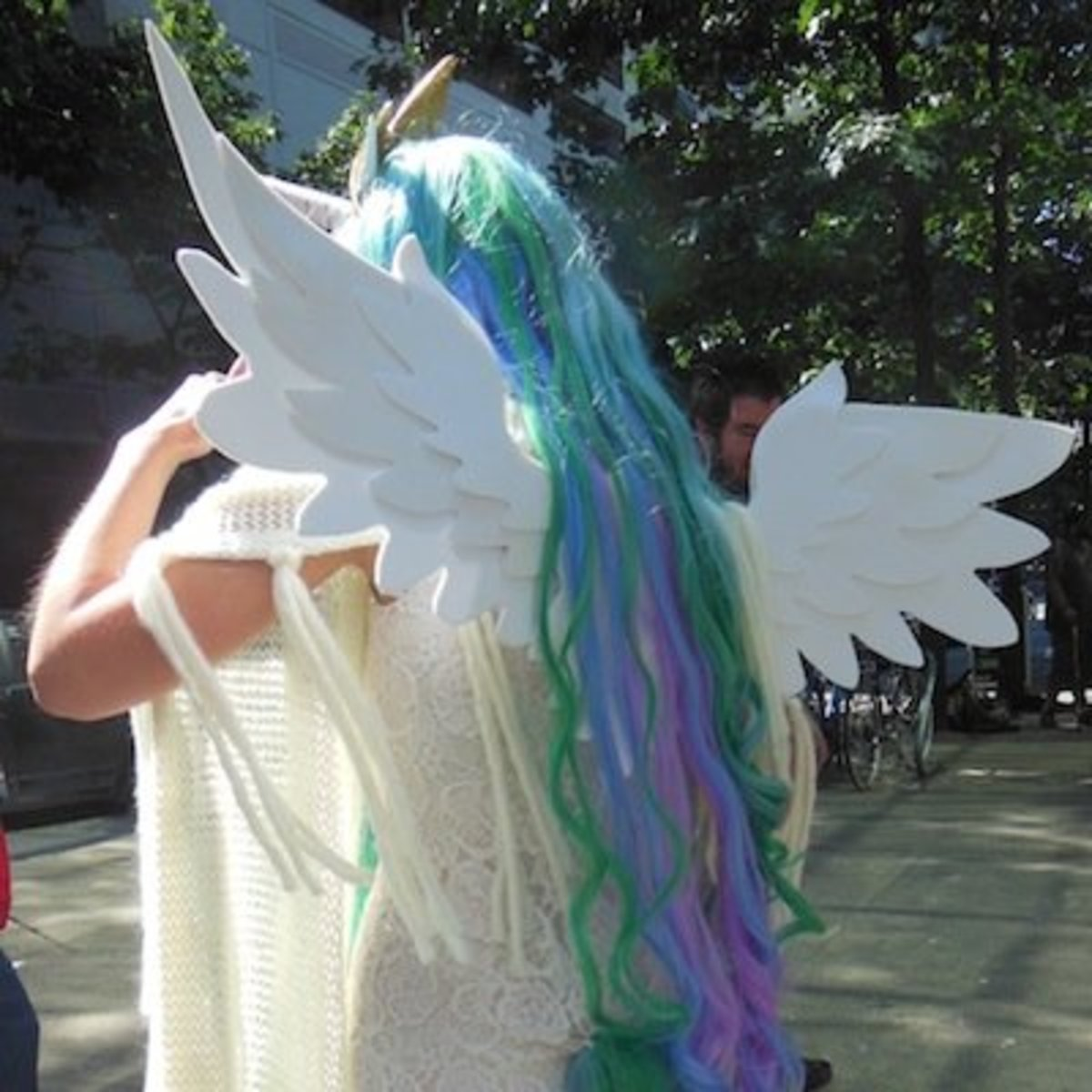a winged unicorn outside PAX Seattle