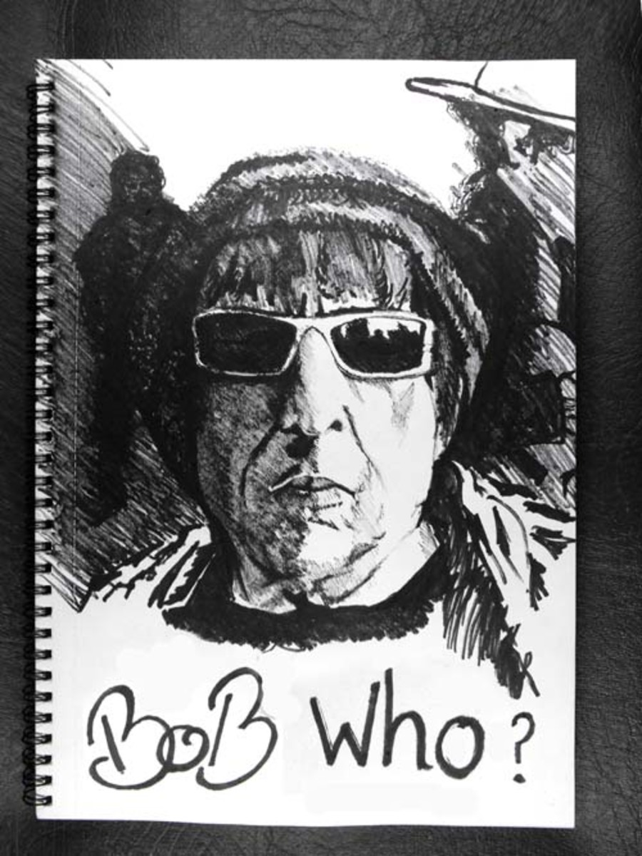 Above Bob Dylan 2009 is another sketch/drawing with marker pen and technical drawing pen 0.5 using a heavy hatching method.