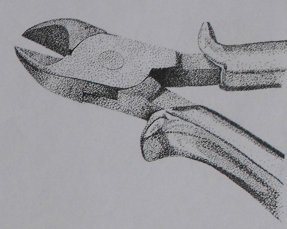 Pointillist Drawing of a pair of pliers again showing some detail and form.