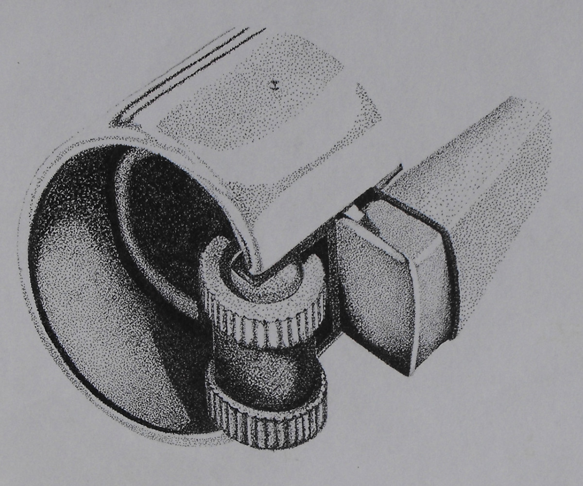 Pointillist Drawing of a clipper lighter detailed components.